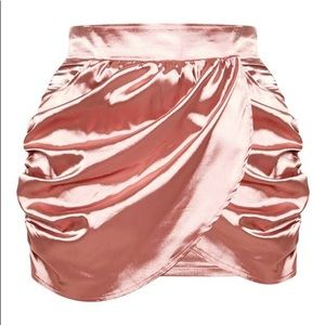 Dusty Pink Satin Mini Skirt
